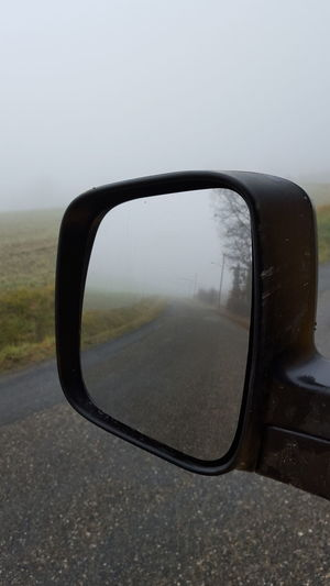 Thick Fog Samsung Galaxy S6 First Eyeem Photo Beautiful Nature The Week Of Eyeem Roadtrip Rear View Rearview Mirror Retrovisor Retroviseur Road Fog On The Road On The Road
