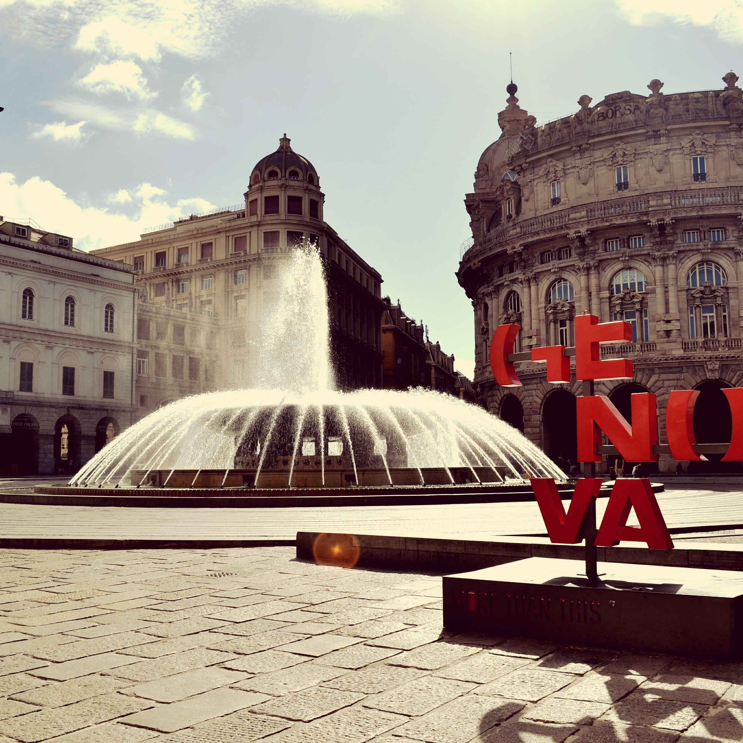 Genova la superba ❤ Fountain Water Architecture Travel Destinations Vacation Piazza De Ferrari Square Beautiful ♥ Viaggiostupendo Genova Travelph