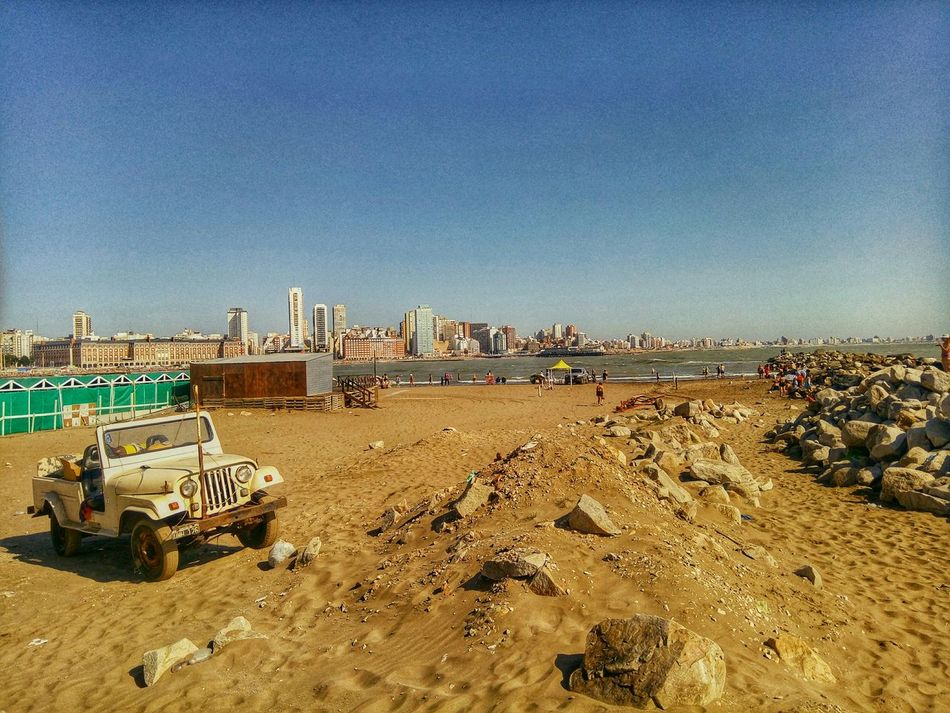 Truck ride at the beach 🌴🚙 First Eyeem Photo Beachphotography Beach Beachwalk Argentina Outdoors Stone Summertime Water People EyeAmNewHere Sand Sky Morning Truck Mardel Costaatlantica Mardelplata Summer Playa
