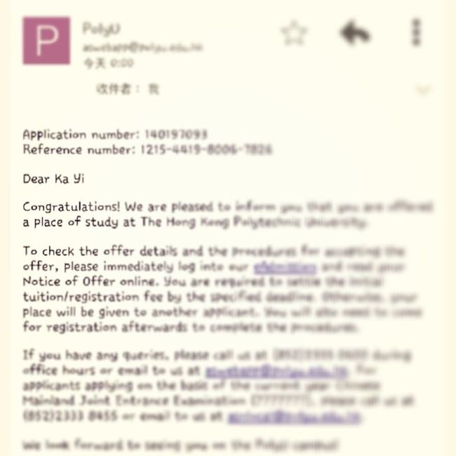 20140522// Thanks God offers me a second chance to study in Poly. Im really really excitng right now and i cant sleep lol?? Thanks everyone keep supporting me and love me?? Polyu Hkig Congratulation