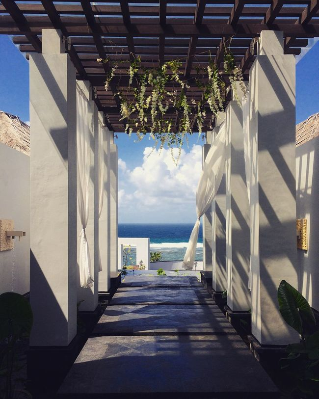 Gateway INDONESIA Bali Samabe Bali Suites & Villas July 2016 Symmetry Light And Shadow Lines Geometry Sea And Sky Clouds And Sky Blue Arch Vacation Breeze
