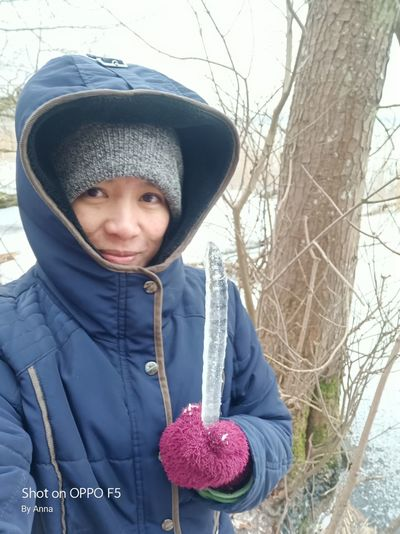 Cold Temperature Winter One Person Front View Looking At Camera Only Women One Woman Only Warm Clothing Outdoors Tree