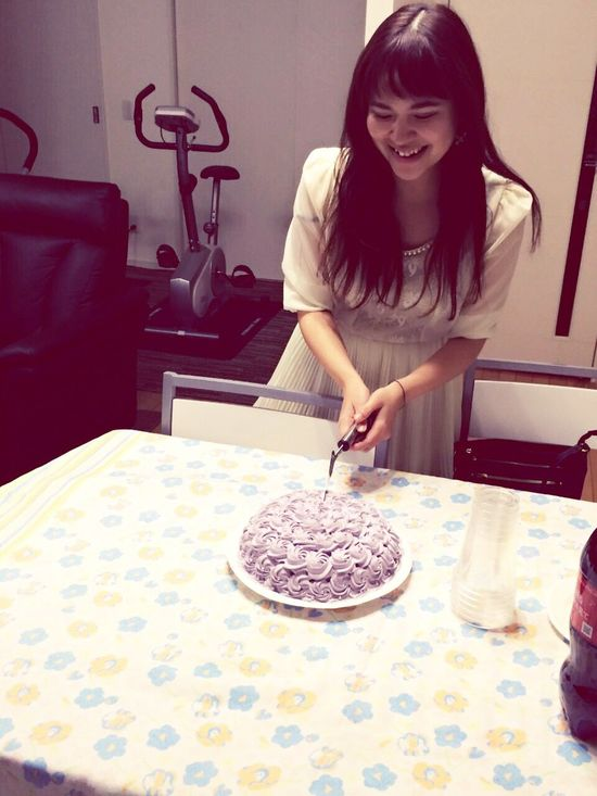 Hello life!! Cake♥ CakeCutting Birthday Cake Purple