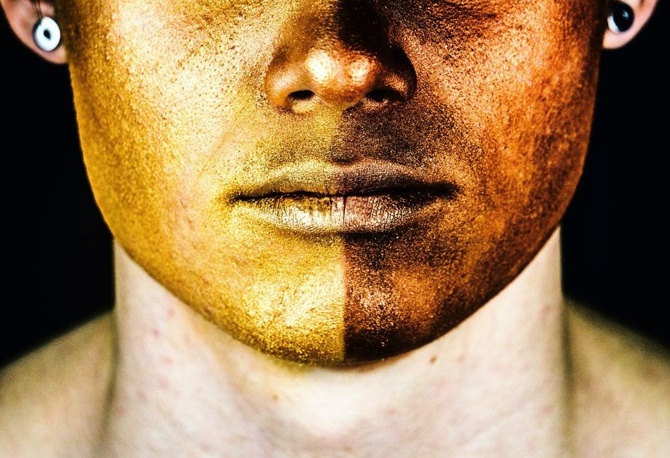 Golden lipstick Colorful Facial Expression Portraits Of EyeEm Studio Shot Mysterious Abstract Abstract Expressionism Human Face Portrait Photography Portraiture Color Portrait Gold Lips Makeup Make-up Close-up NoFaceShot Colors