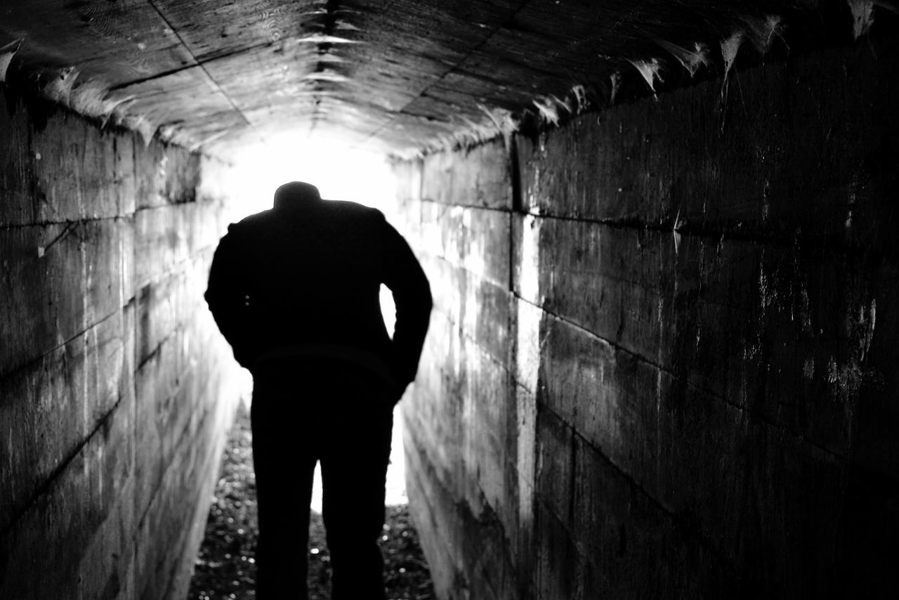 Adult Back Lit Black & White Blackandwhite Catacombs Dark Door County, Wisconsin Escaping Light At The End Of The Tunnel Men One Man Only One Person Quarry Rear View Silhouette Standing Tunnel Tunnel View Tunnels Walls