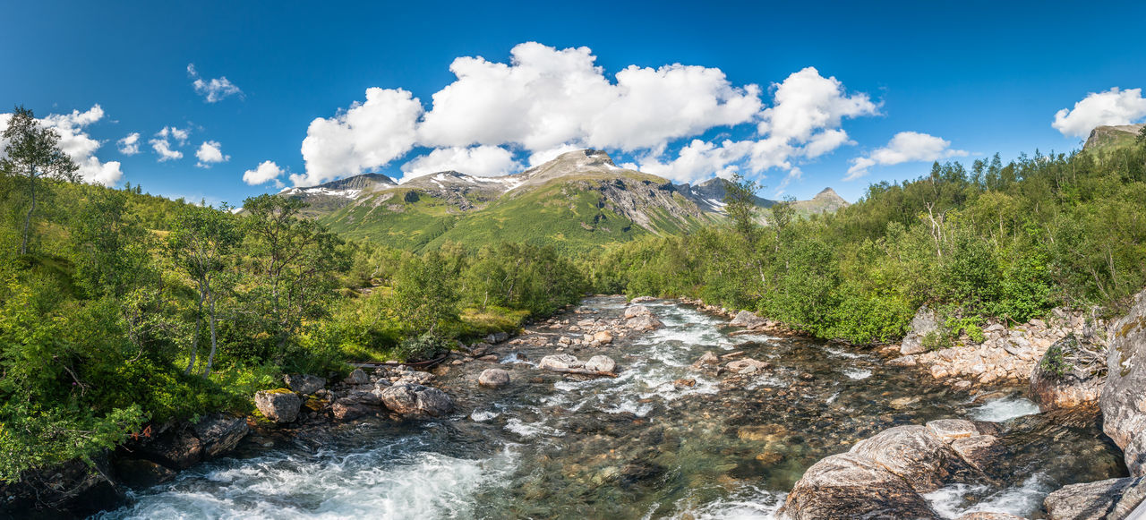 Clear Sky Hiking Lonely Norway Panoramic River View Tree Trees Beauty In Nature Cloud - Sky Clouds Day Forest Landscape Mountain Nature No People Outdoor Outdoors River Rocks Scenics Sky Tree Water