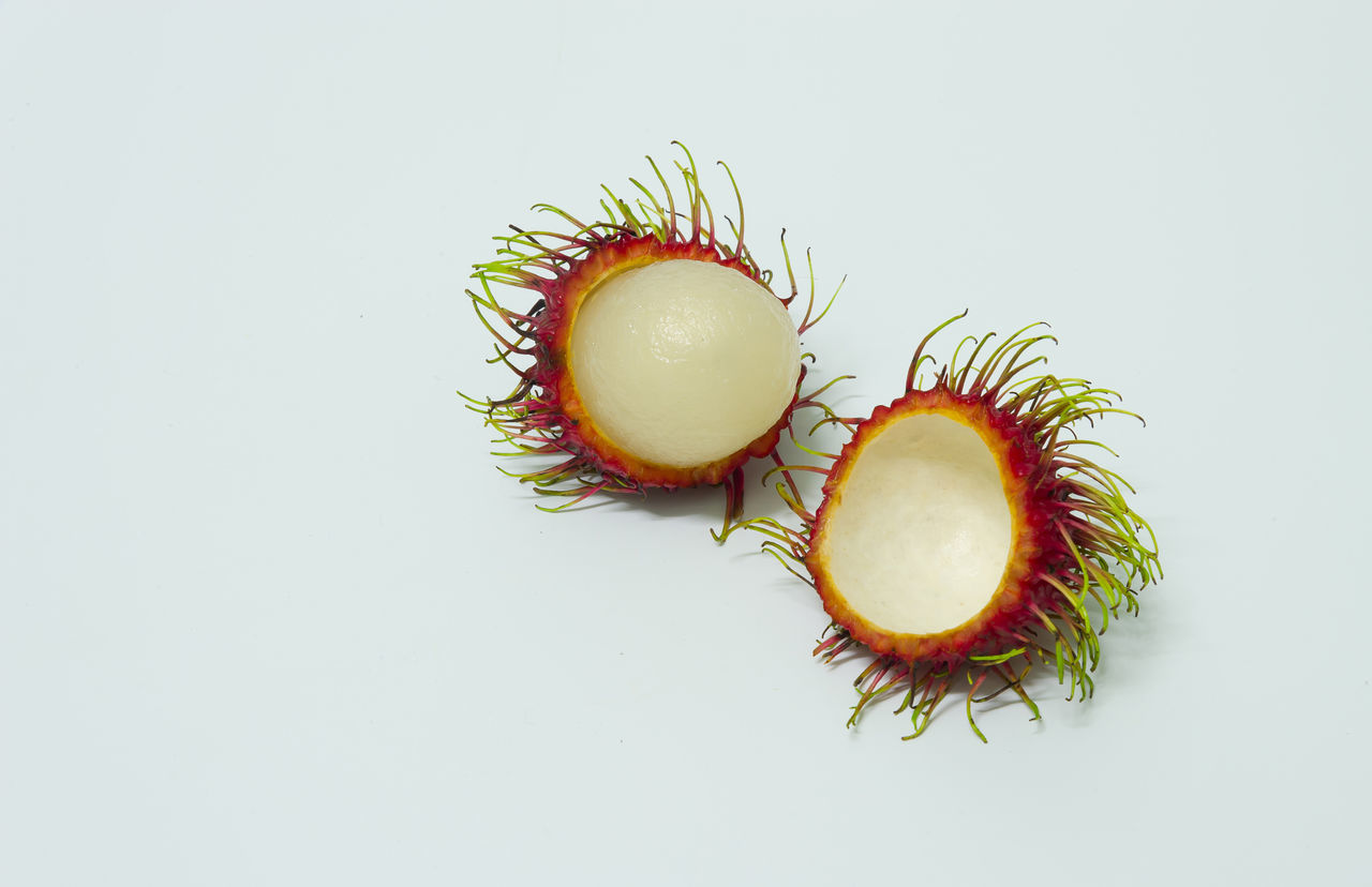 Lychees On White Background