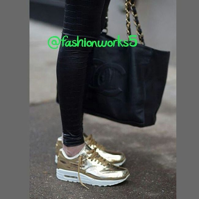 Fashionworkstv Trends HowtoStyle AllBlackandGold Chanel Bag paris Nikeair Nike airmax Gold Trainers instagood iamfashion iamfashionworks5