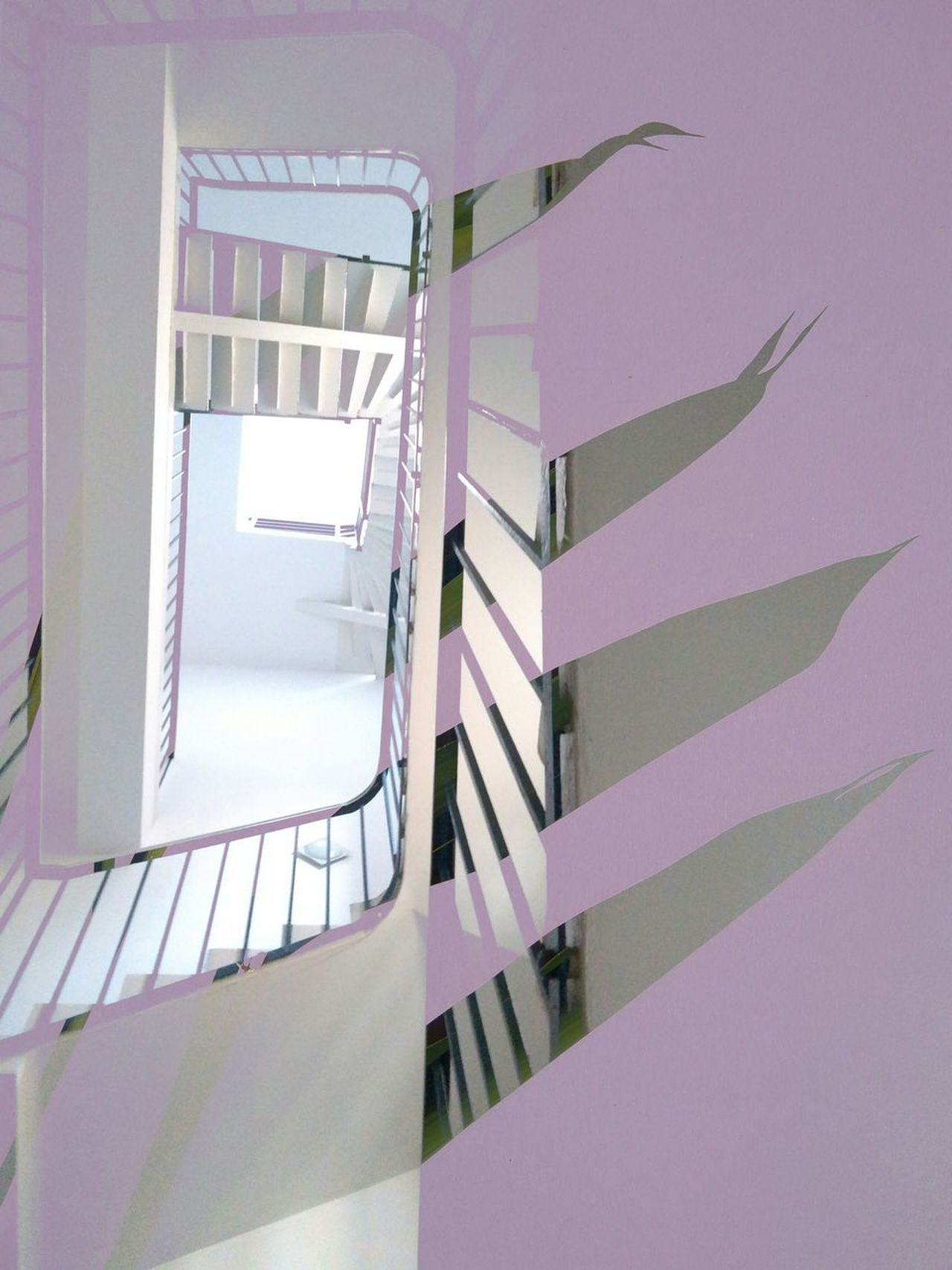 Staircase Steps And Staircases Steps Railing Spiral Architecture Built Structure Spiral Staircase People Cut And Paste Collage Double Exposure Graphic Design Natural Vs Artificial Leaves Negative Space Pink Color Pastel Power Pastel Colors