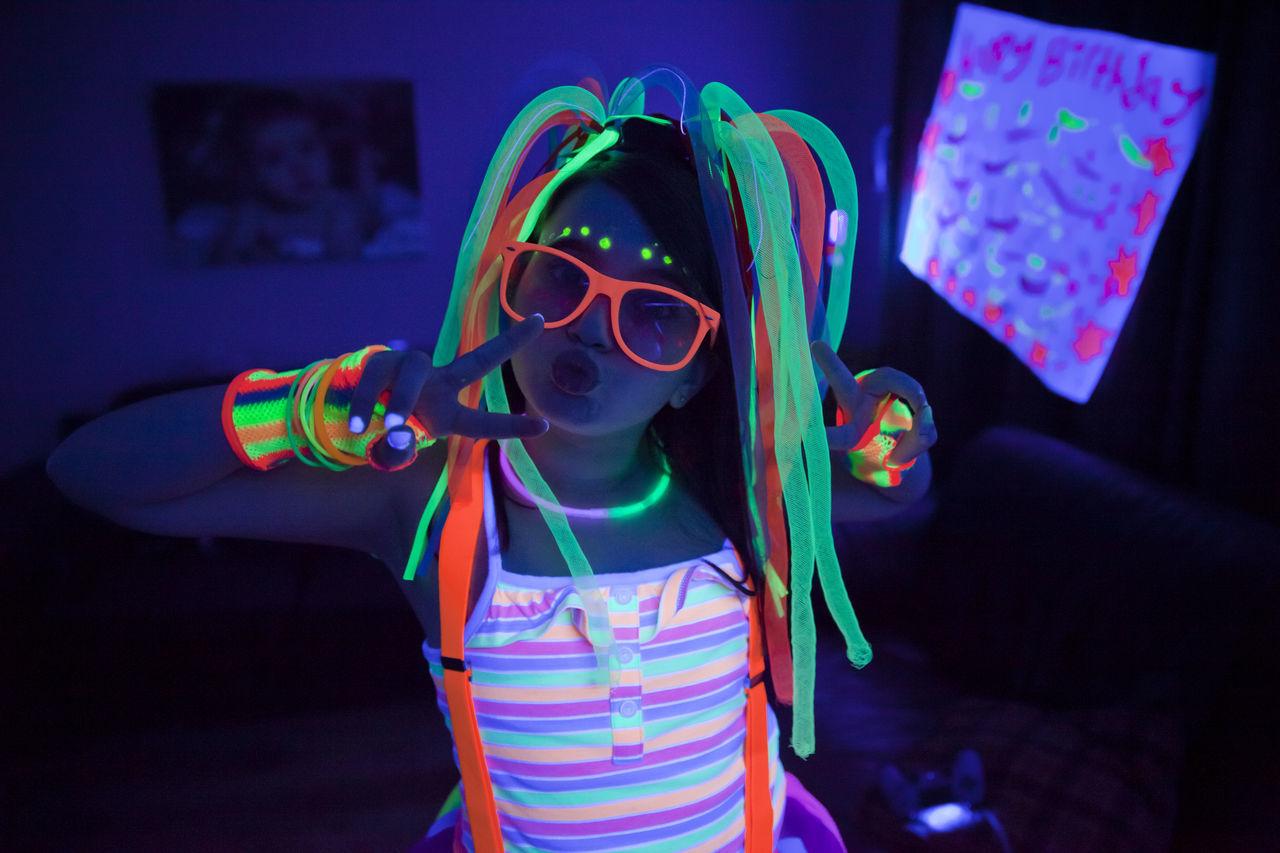Neon birthday party Birthday Birthday Party Black Light Black Light Party Child Childhood Children Glow Glow In The Dark Glow Sticks Glow Sticks!  Glowing Neon Neon Glow Neon Party Party Party Supplies Party Time Portrait