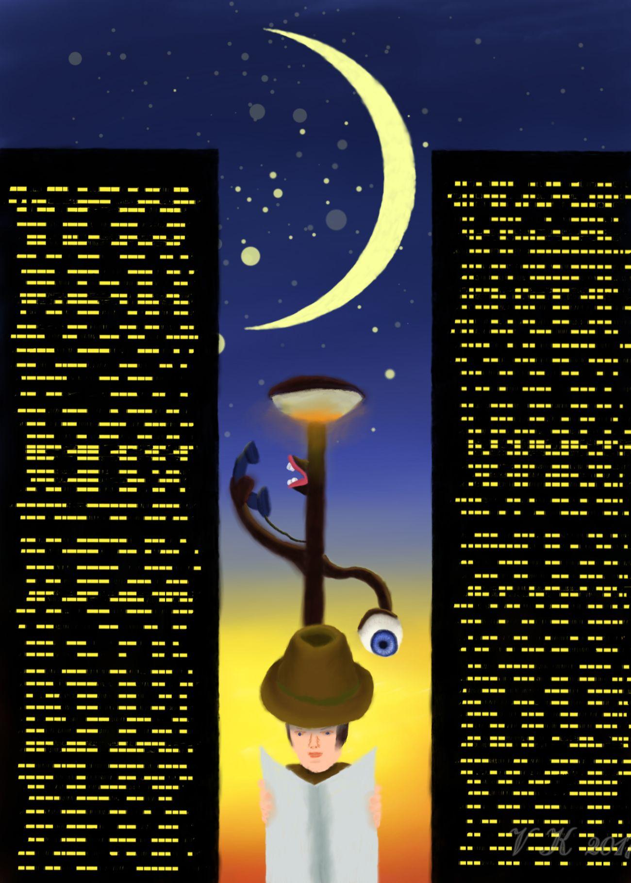 Under observation - my new digital painting Moon Skyscraper Sky MYArtwork❤ MyArt Surrealism Digital Painting Digital Art