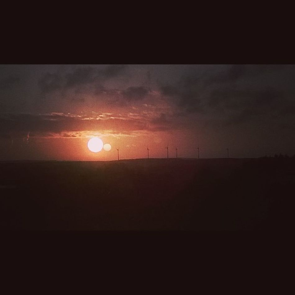 The Sun kissing the Moon moments ago from our window in Taupont Bretagne Jaimelabretagne Bretagnetourisme Breizh Morbihan Miamorbihan Sun Sunrise Moon Sky Soleil Ciel Leverdesoleil Lune