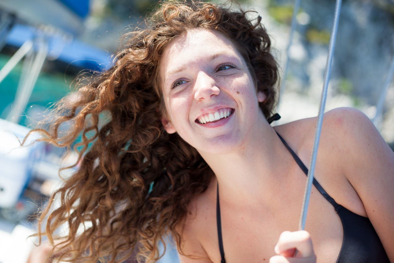 Beautiful stock photos of portrait, 20-24 Years, Boat, Caucasian Ethnicity, Curly Hair