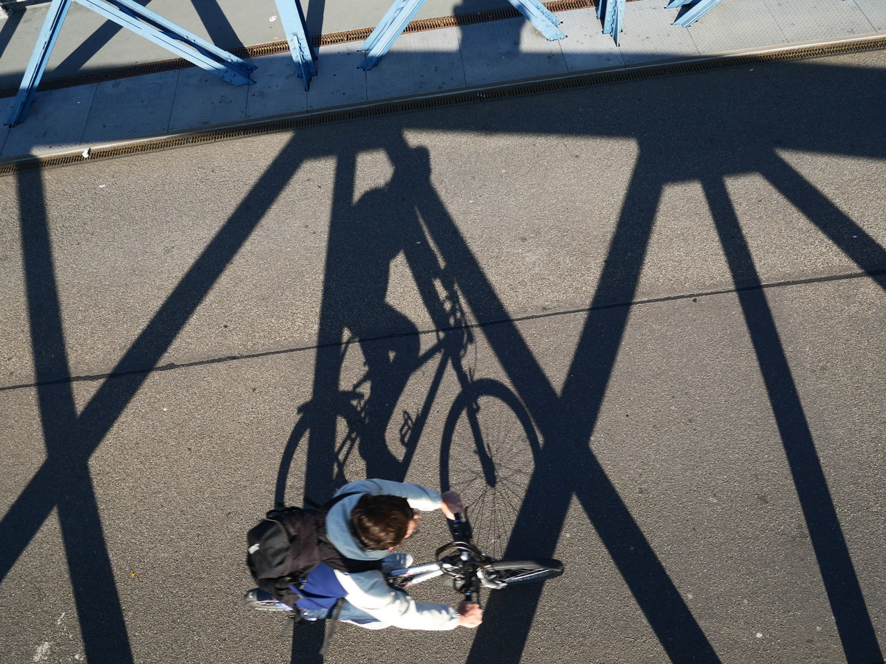 Adult Bycicle Childhood Cycling Cyclist Day High Angle View Leisure Activity Lifestyles One Person Outdoors People Real People Shadow Sunlight
