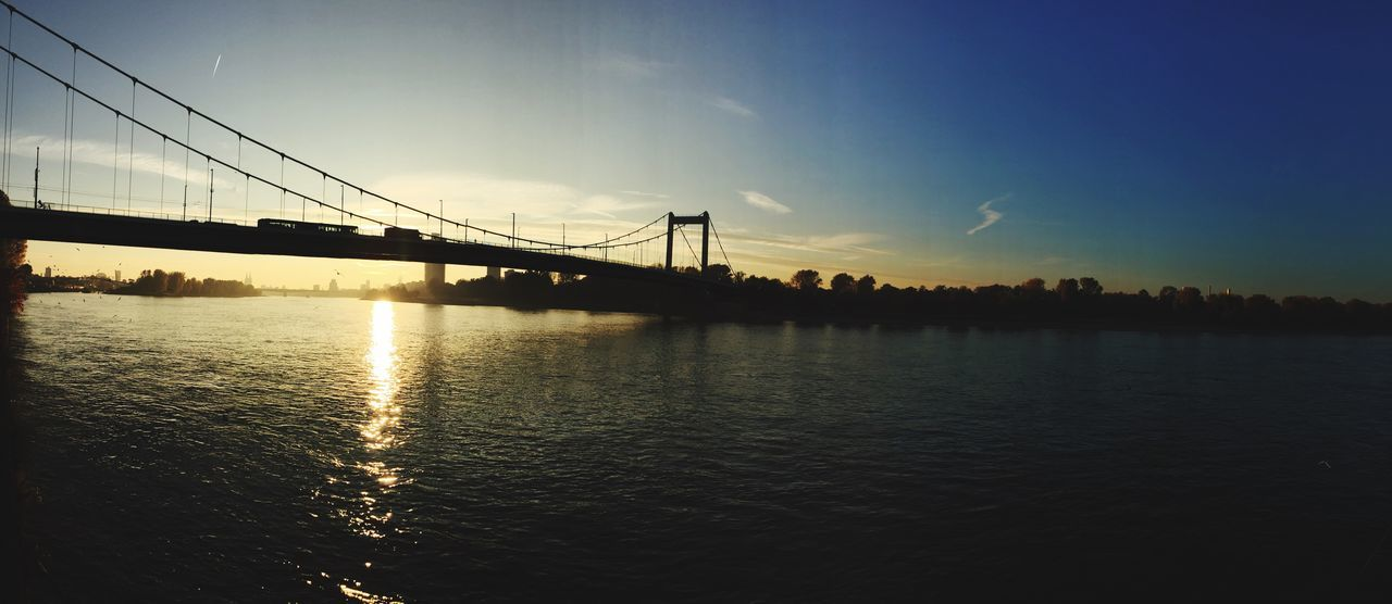 Cologne Bridge Mülheimer Brücke Rhine River Sunset Panorama Germany