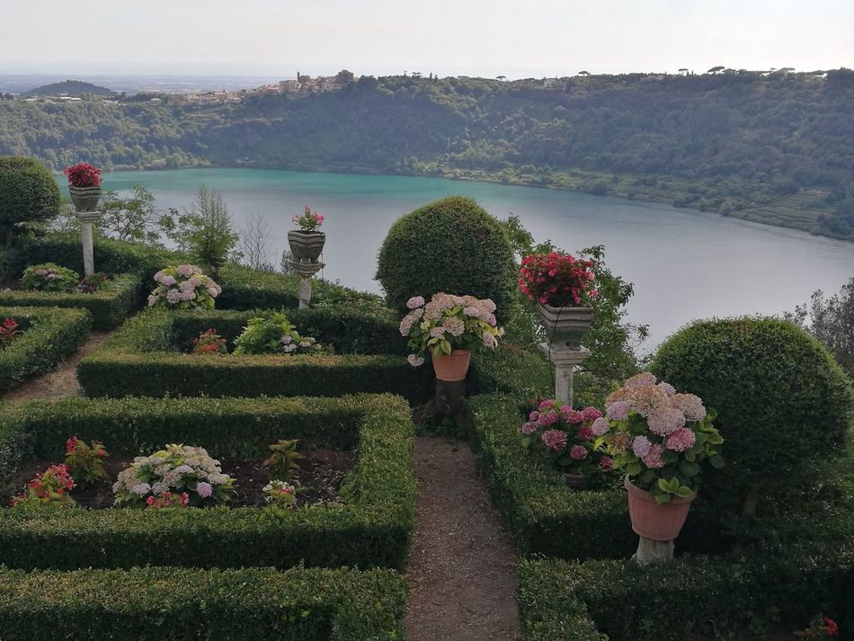 Beauty In Nature Blue Sky Classic Garden Day Flower Freshness Garden Grass Growth Nature Near Rome Nemi Nemi Lake No People Outdoors Plant Scenics Sky Tranquility Travel Destinations Tree Vases Of Flowers Vulcanic Lake Water