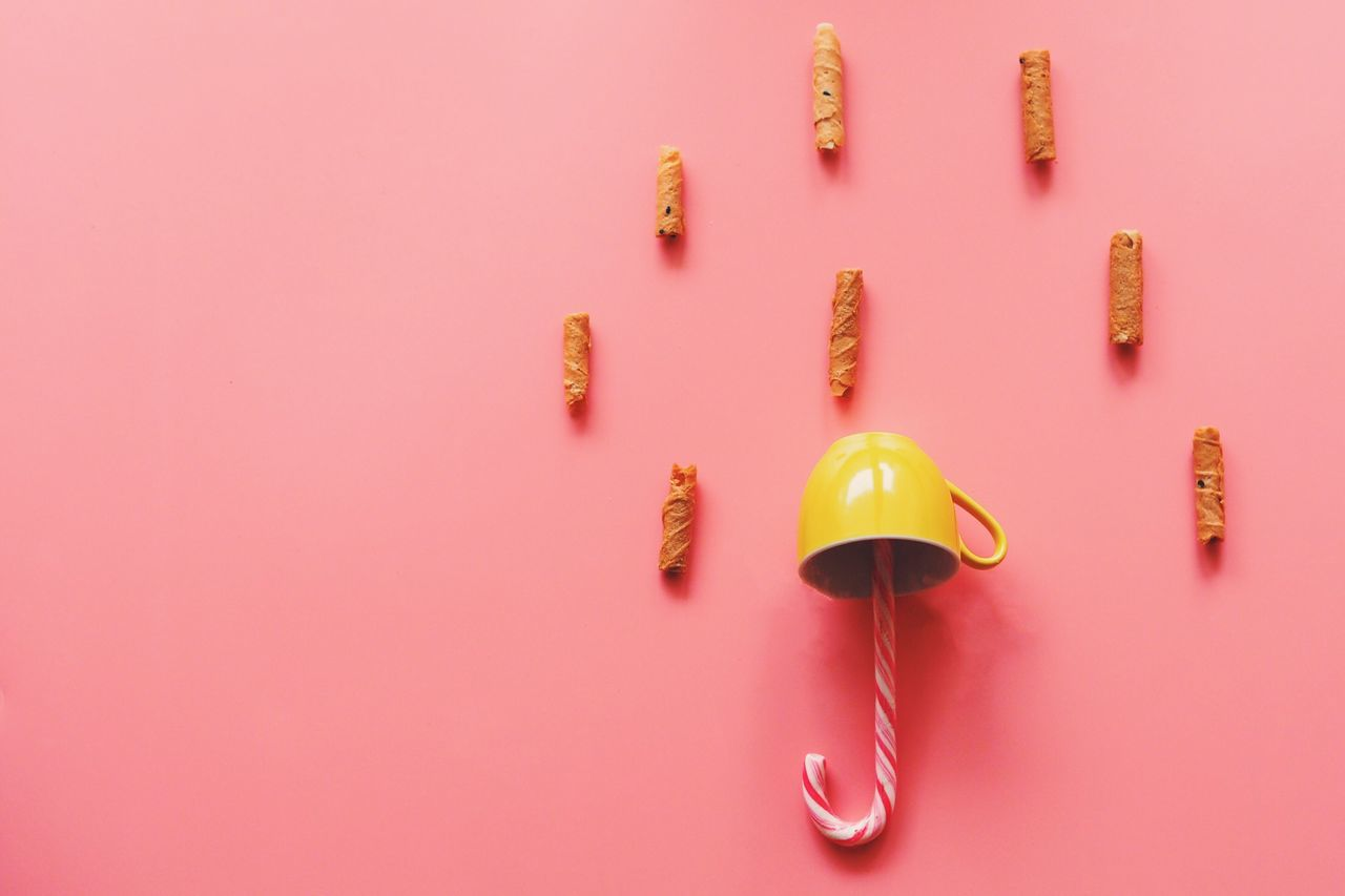 top view cookie and biscuit with coffee cup on pink background,rainy sweet concept #candy #coffee Cup #cooking #idea #rain  #umbrella Close-up Day Indoors  No People Pink Background Pink Color Studio Shot Sweet