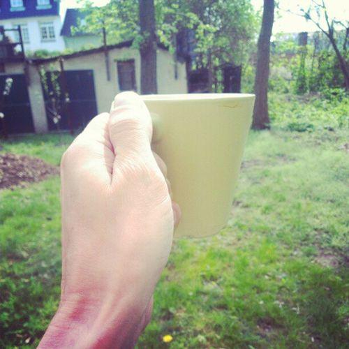 Having a coffee in the sunny backyard in Dresden. #CoffeeTweet Coffeetweet