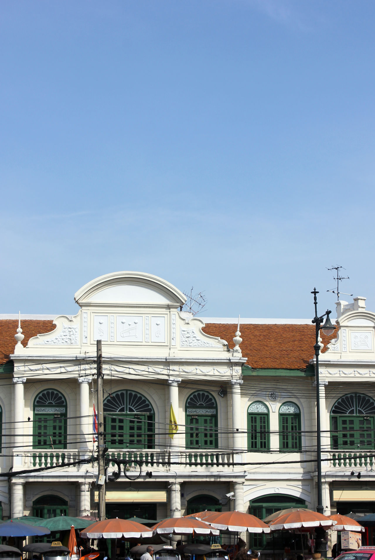 Chinese Portugese Building Style Architecture Building Building Exterior Built Structure Chinese Portugese Clear Sky Day Outdoors Sky Thailand Vintage Building