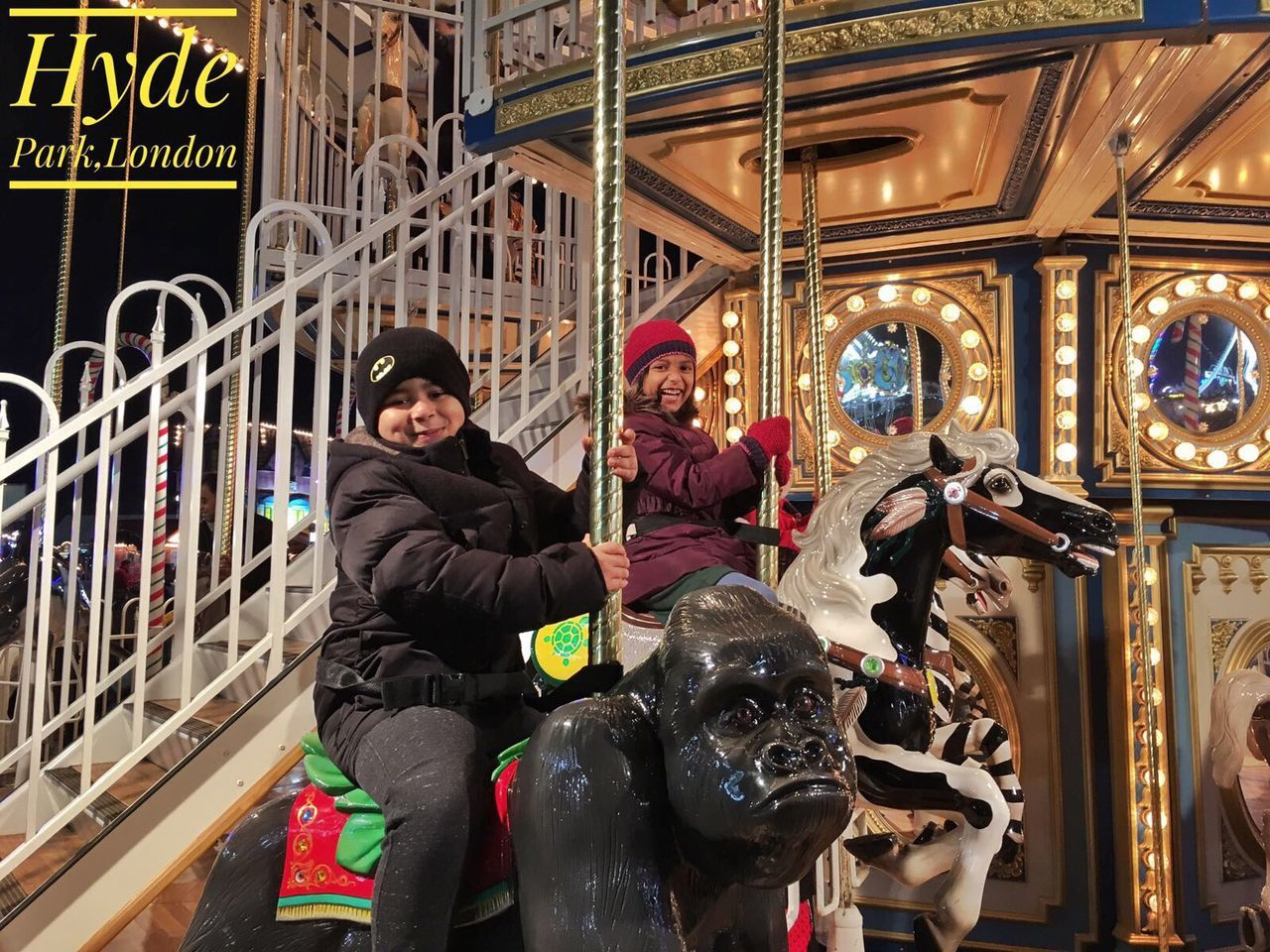 Arts Culture And Entertainment Two People City Outdoors Animal Themes Portrait Smiling Amusement Park Togetherness Cousins ❤ Hydepark LONDON❤ Winter Wonderland UK Dairies