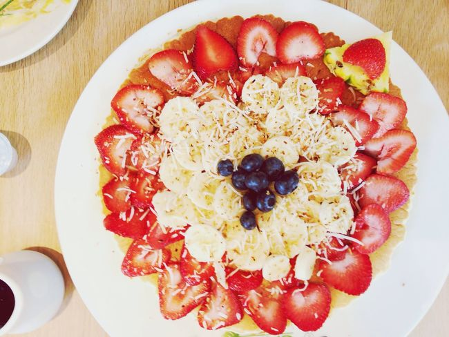 Pancakes with Fruits Strawberries Blueberries