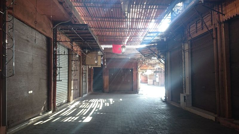 Empty Places Empty Souk Souks Sunlight Sunrays Marrakech Marrakech Morocco Closed Light And Shadow Darkness And Light Travel Traveling No People No Edit/no Filter Street Photography Urban Photography The Street Photographer - 2016 EyeEm Awards