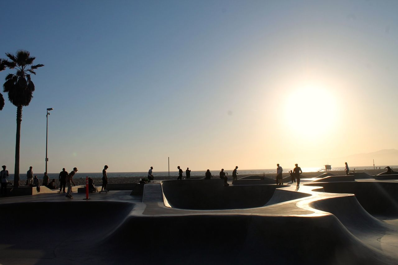 Venice Beach skatepark in Southern California. Beach California California Coast California Love Competitive Sport Losangeles Outdoors Palm Tree Sea Skate Skateboard Park Skateboarding Sky SoCal Sport Sun Sunlight Sunset Venice Beach Water WestCoast
