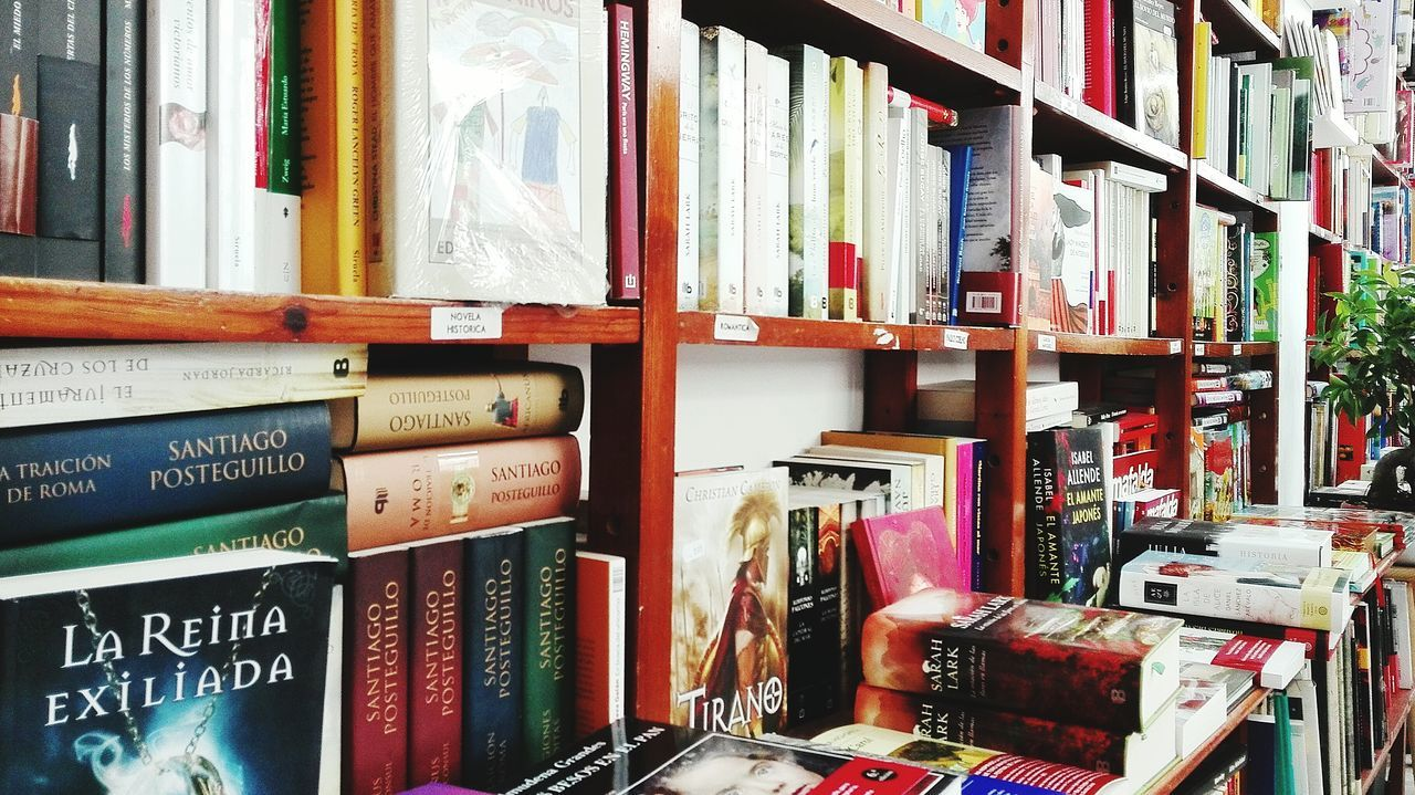 shelf, bookshelf, large group of objects, book, choice, indoors, collection, variation, arrangement, education, no people, literature, library, day