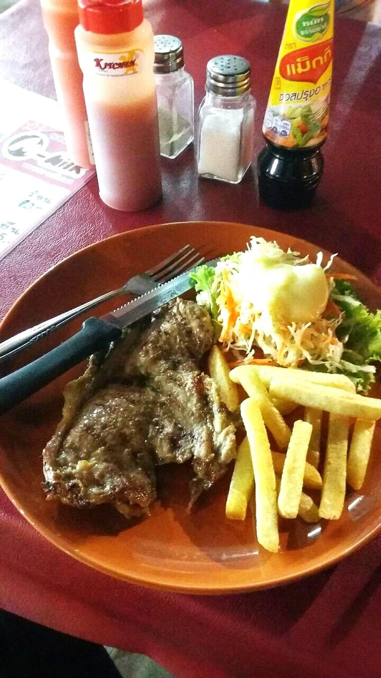 I luv pork steaks 😤😝😋 Pork Steaks French Fries Salad แม็กกี้ ซอสมะเขือเทศ Dish Fork Knife Pepper
