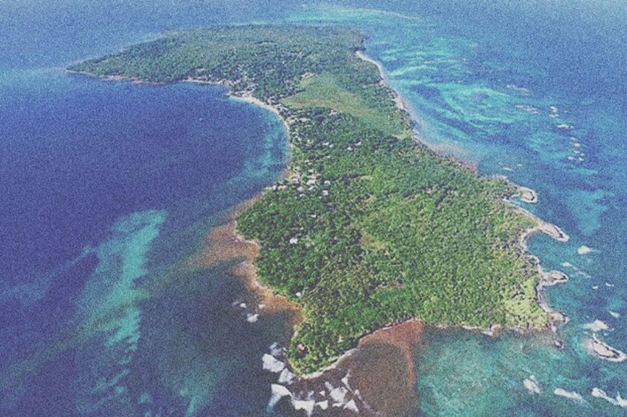 Aerial View Coastline Beach Sea Sand Island Travel Destinations Littlecorn Nicaragua