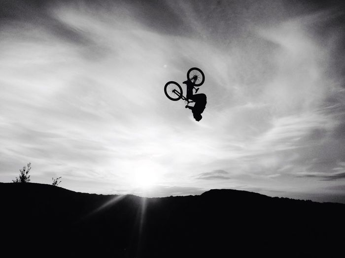 Sky Cloud - Sky Low Angle View Silhouette Outdoors Nature Day Bike Extreme Sport MTB Bikepark