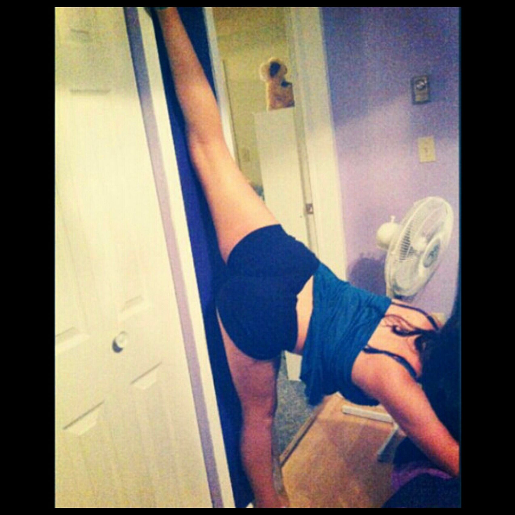 First time trying a Wall Split! ^.^... all I gotta say is I still go itt.♥...Back At It, More Flexibility ✌