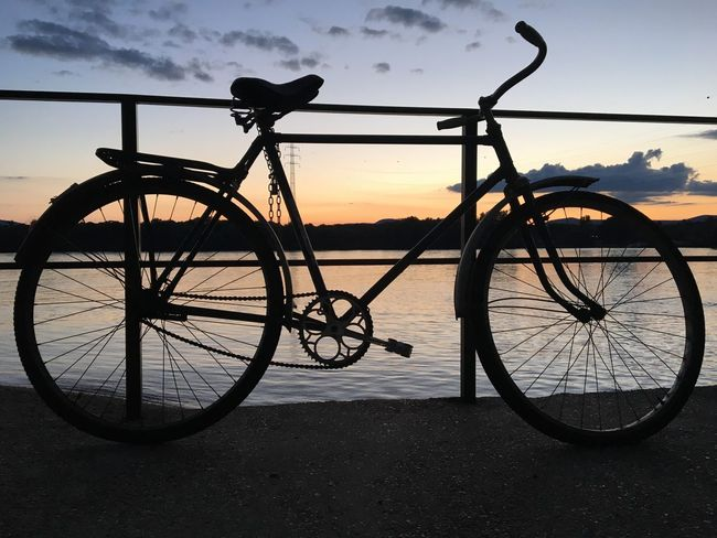 Evening Nature Outdoor Photography Iphonephotography Danube Sunset Sunset_collection Bike Silhouette Transportation No People Nature_collection Outdoors Photograpghy  Landscape_Collection