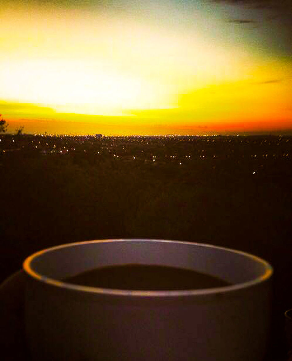 {Dawn} Coffee Dawn Of A New Day Sunrise Citylights Morning Silence Mug Peace And Quiet Hello World Red Orange Allonetime Darkness To Light