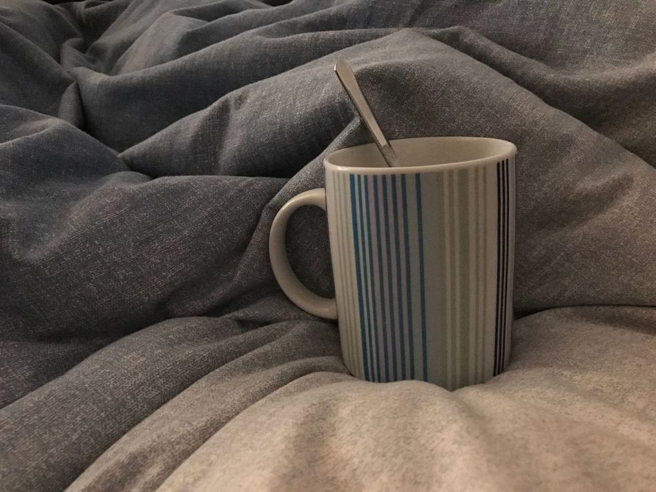 Indoors  Close-up No People Freshness Day Morning Coffee Bed Early Morning Cup Spoon Blue Bedspread Coffecup