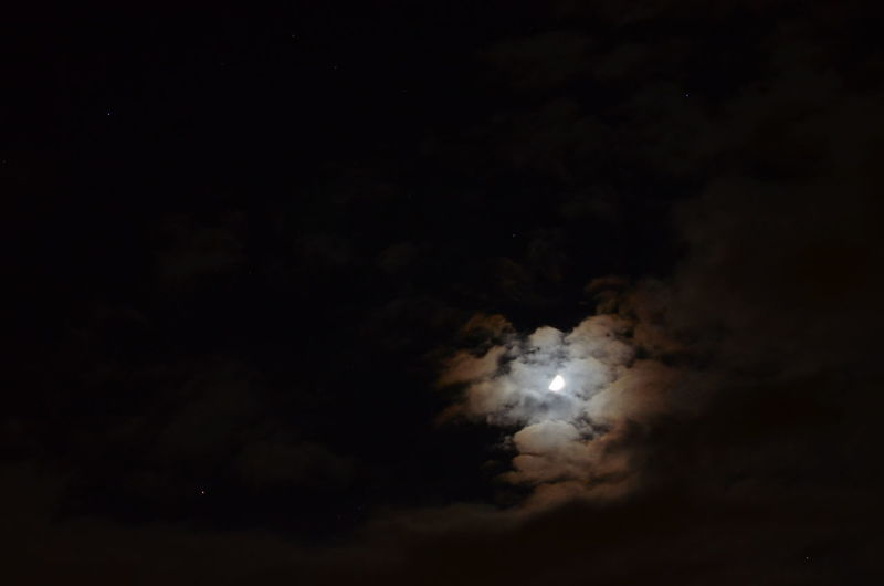 Moon Behind Cloudes Half Moon Space Night Stars Sky Astronomy DarkNature Outdoors No People Galaxy Moon Cloud - Sky Beauty In Nature Low Angle View Dramatic Sky Colorful Sky And Clouds