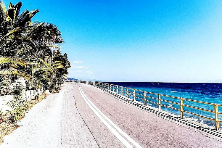 On the road. Sea Palm Tree Beach The Way Forward Horizon Over Water Tree Outdoors Beauty In Nature No People Sky Scenics Day Wave Water Nature Silhouette