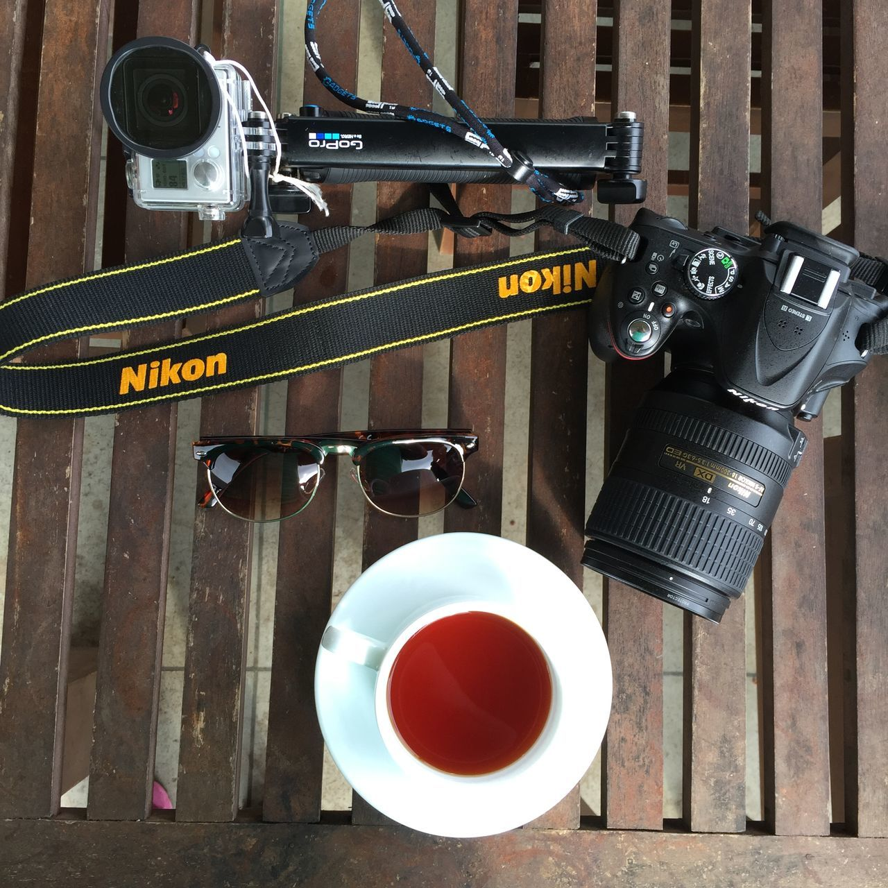Tea & Camera Camera Close-up Day Drink Gopro Nikon Nikon Camera No People Tea Cup Tea Time