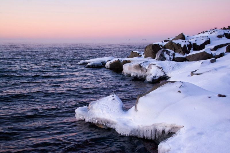 Dawn over Duluth, MN Nature Sea Water Beauty In Nature Winter Cold Temperature No People Scenics Tranquility Sky Tranquil Scene Malephotographerofthemonth Landscape Outdoors Day Iceberg Mammal