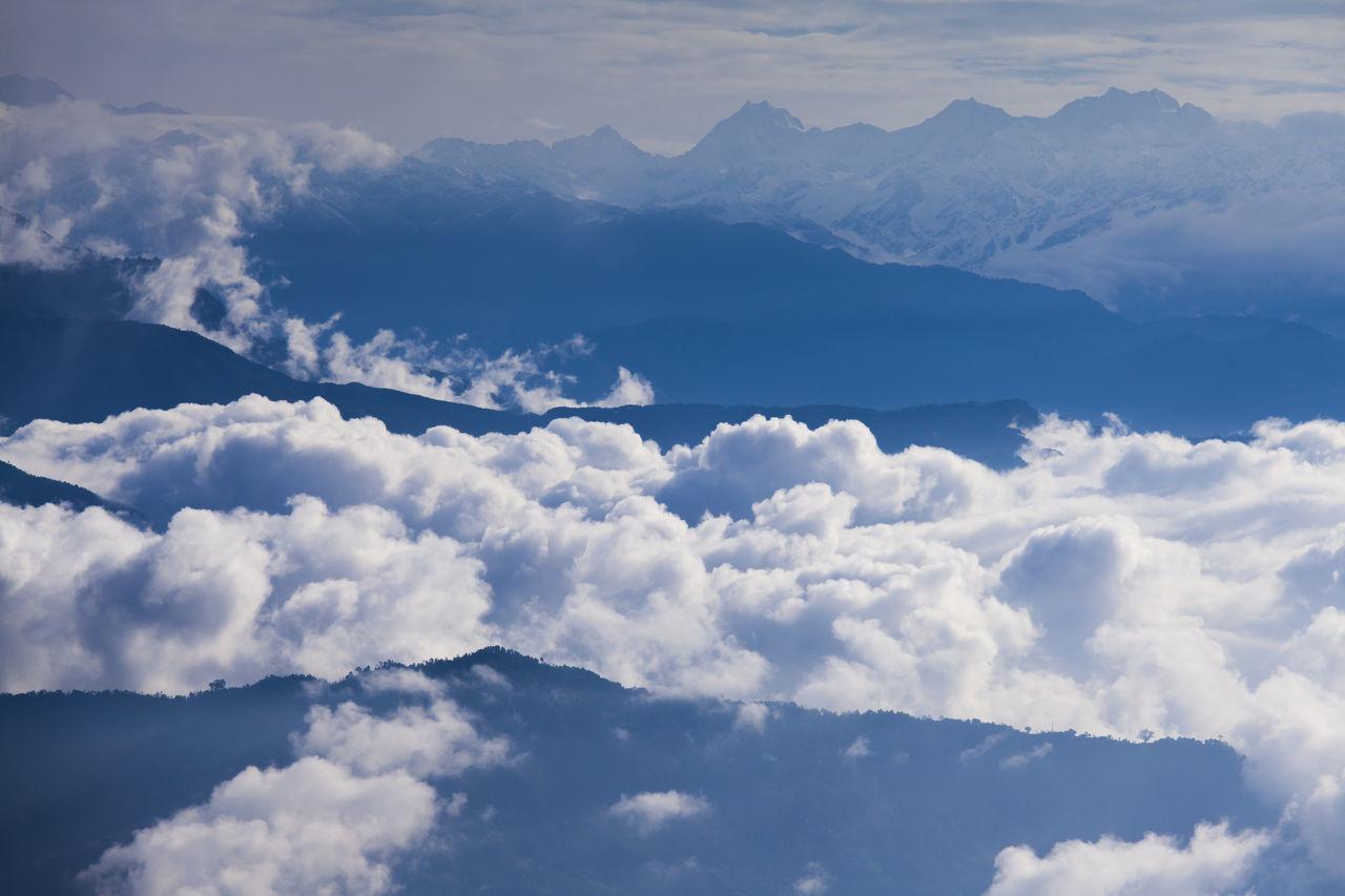 Sea of clouds over Himalayan mountain range. Beauty In Nature Blue Cloud - Sky Clouds And Sky Cloudscape Heaven Himalayas Kathmandu Landscape Morning Sky Mountain Mountain Range Nagarkot Nature Nepal Sky
