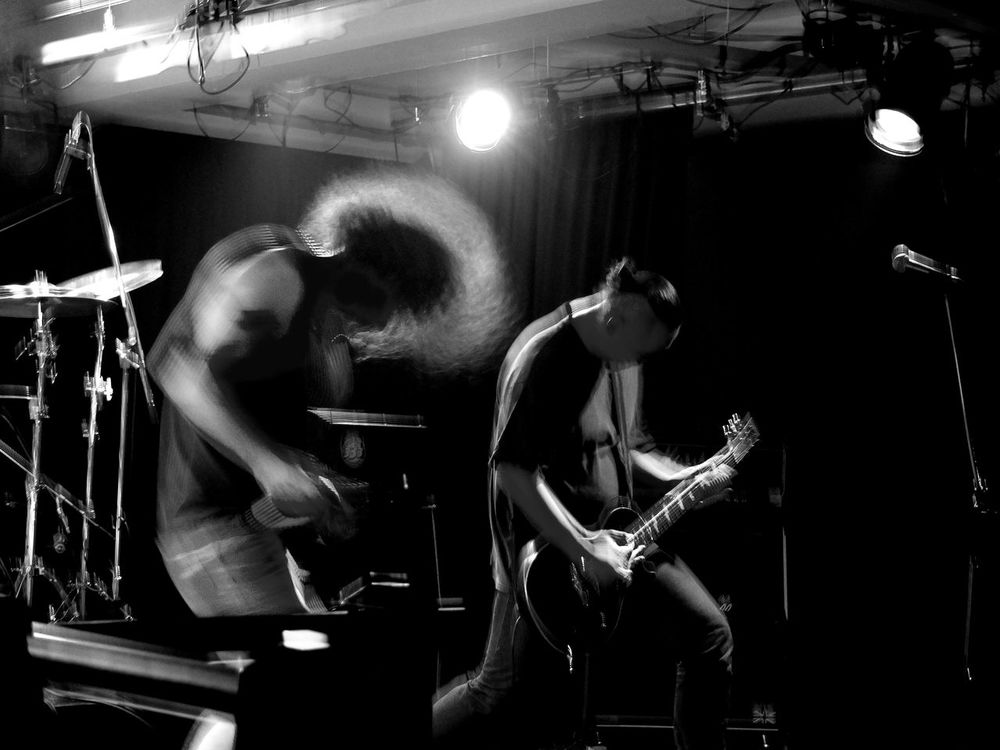 Black And White Contrast Eyeem Music Guitar Guitarist Head Banging Heavy Metal Lights Microphone Monochrome Music Musician Only Men People Performance Playing Portrait Singer  Two People Concert Live Music