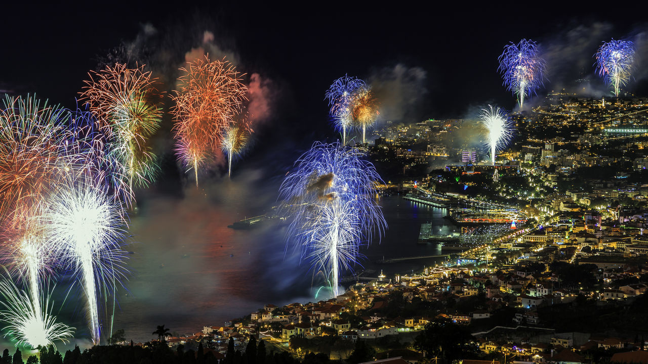 "Blurred Motion Change Fireworks Fountain Funchal Madeira Glowing Growth Lens Flare Long Exposure Madeira Island Majestic Motion Nature Night Outdoors Rain Speed Splashing Spraying Sun Sunbeam Wet ""New Year Around The World"" Cities At Night"