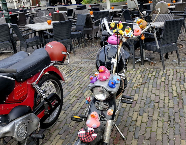 the rubber duck moped Colors Day Decorated Den Haag Funny Hip Hippie Moped Mopeds No People Nostalgic  Oldtimer Outdoors Parked Puch Rubber Duck Street Photography Streetphotography ACDSee Lieblingsteil EyeEmNewHere