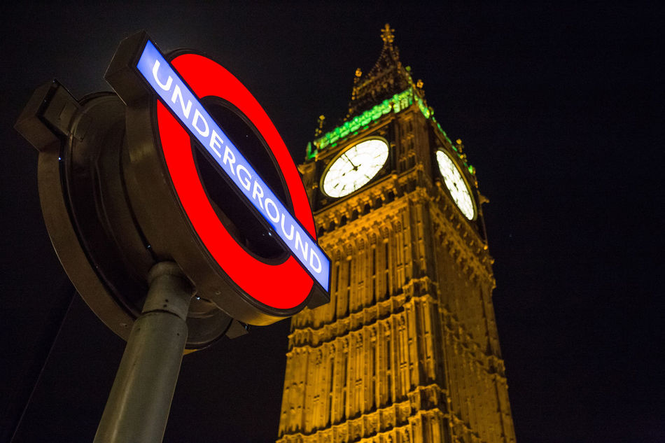 Architecture Big Ben Building Exterior Clock Clock Tower Government Illuminated London Low Angle View Metro Station Night Time Travel Underground Signs