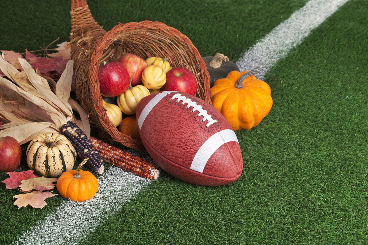 Apple Autumn Basket College Corn Cornucopia Football Grass Green Color Harvest Leather No People Orange Red Squash Turf Yard Line Yellow