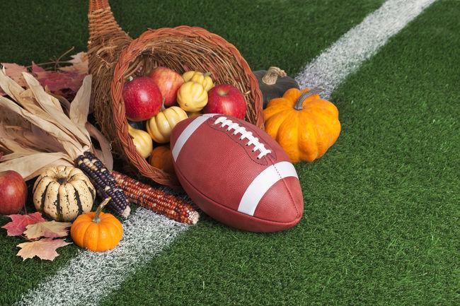 Apple Autumn Basket College Corn Cornucopia Football Grass Green Color Harvest Leather No People Orange Red Squash Turf Yard Line Yellow