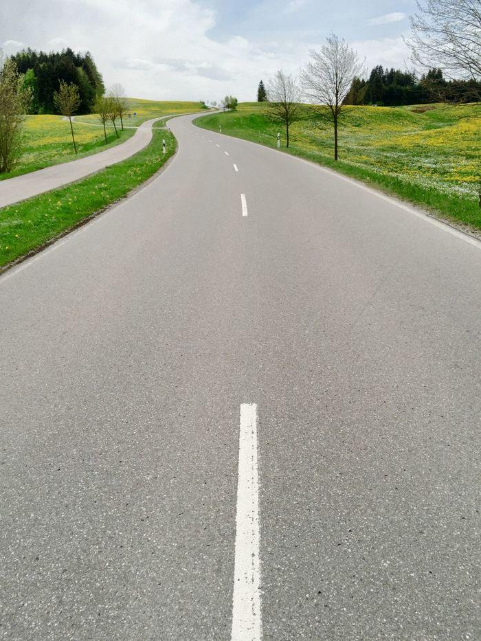 Kurvige Straße im Allgäu Long Winding Road