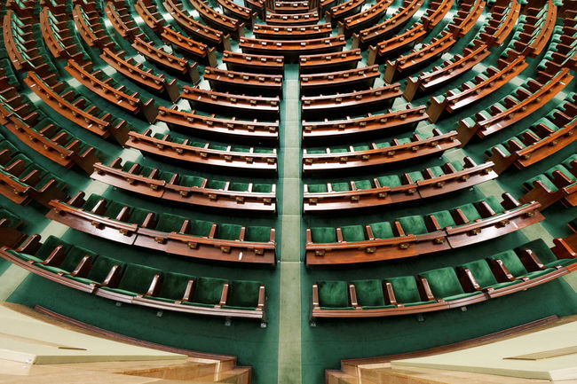 Sejm - Polish Parliament Architectural Feature Backbenches Built Structure Chamber Green In A Row No People Parliament Repetition Sejm