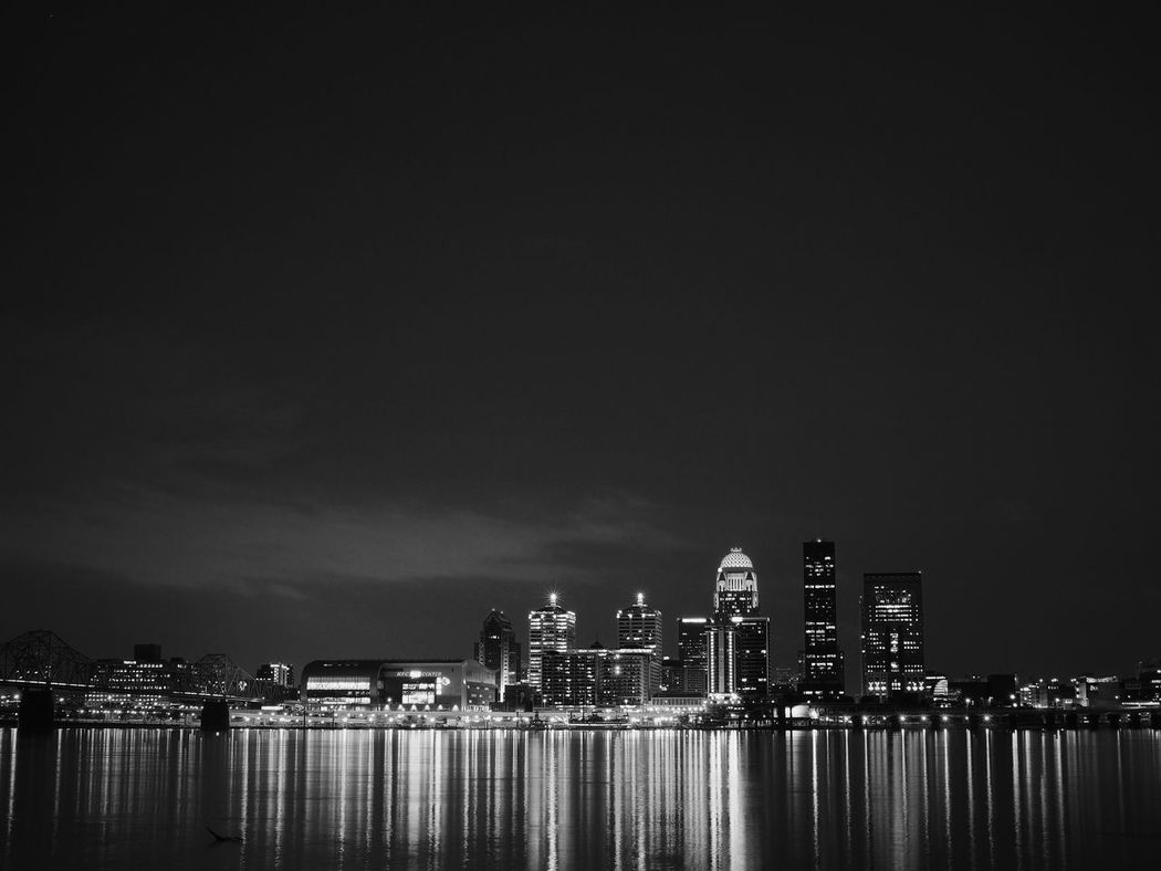 Architecture Blackandwhite Built Structure City City Life Cityscape Development Illuminated Kentucky  Louisville Modern Night No People Office Building Ohio River Outdoors River Sky Skyline Skyscraper Tall Tall - High Urban Skyline Water Waterfront