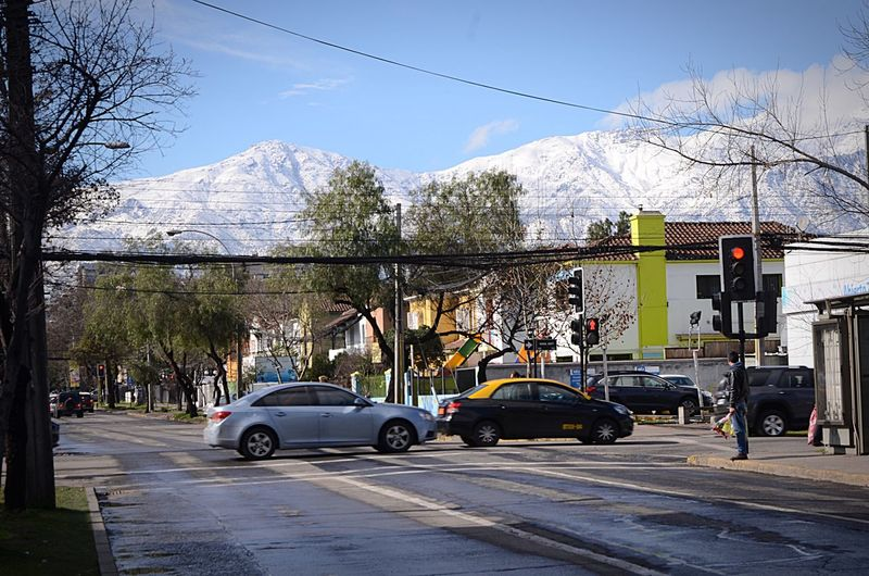 Santiago De Chile Nieve 2017 Chile Car Transportation Tree Building Exterior Architecture Built Structure Outdoors Mode Of Transport Land Vehicle Day Bare Tree Mountain Sky Road No People City Nature